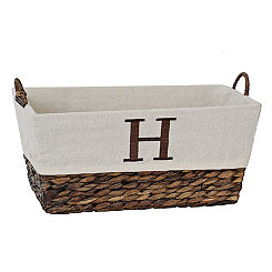 Woven Rattan Monogram H Basket