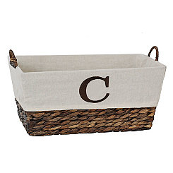 Woven Rattan Monogram C Basket