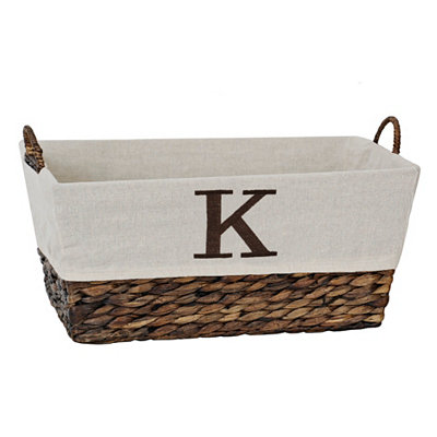 Woven Rattan Monogram K Basket