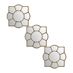Gold Flower Mirrors, Set of 3
