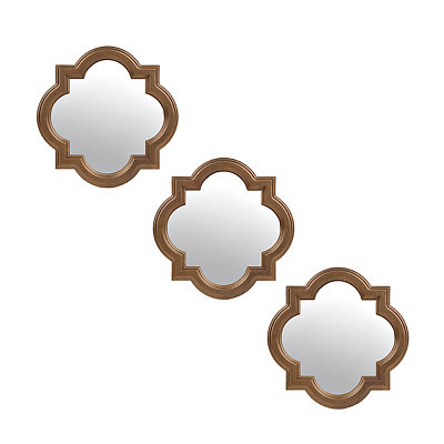 Bronze Quatrefoil Framed Mirrors, Set of 3
