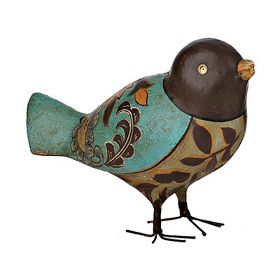 Blue Painted Bird Figurine
