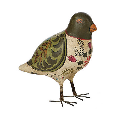 Green Painted Bird Figurine