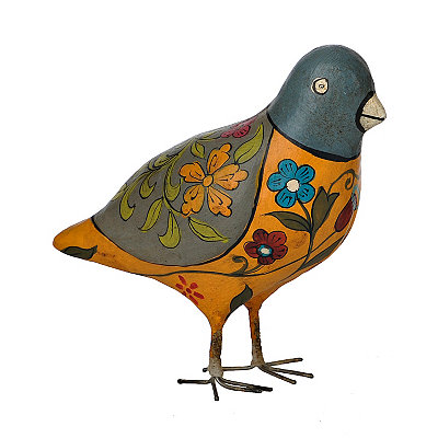Orange Painted Bird Figurine