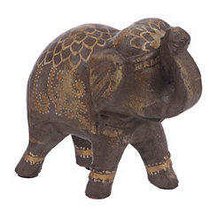 Brown and Gold Painted Elephant Figurine