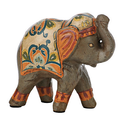 Orange and Tan Painted Elephant Figurine