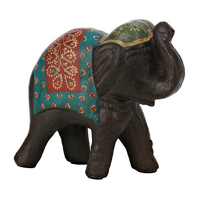 Red and Blue Painted Elephant Figurine