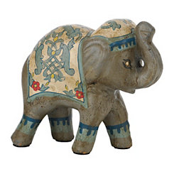 Turquoise and Tan Painted Elephant Figurine