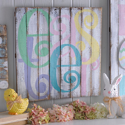 Distressed Easter Typography Barnwood Plaque