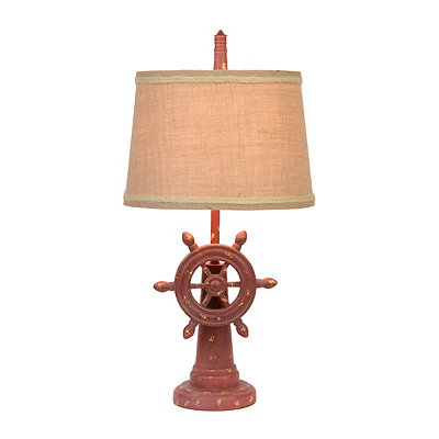 Weathered Red Ship's Wheel Table Lamp