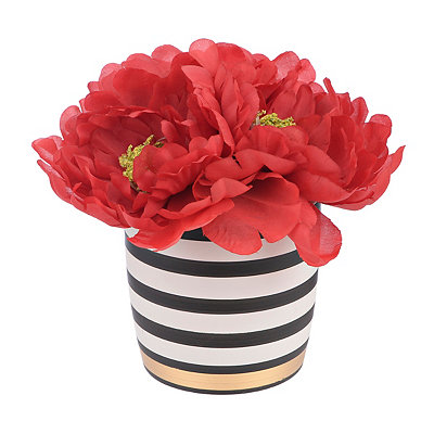 Red Peony Arrangement in Black and White Pot