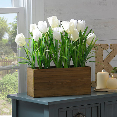 White Tulip Box Arrangement