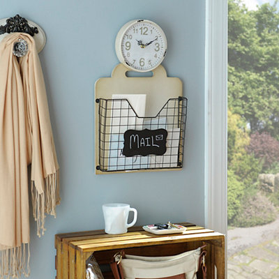 Angie Cream Clock with Wire Basket