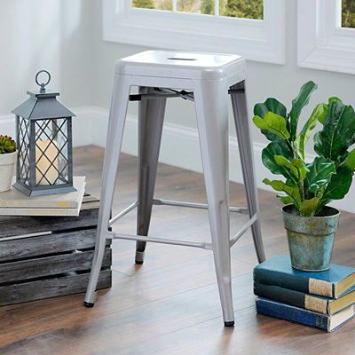 Silver Metal Industrial Bar Stool