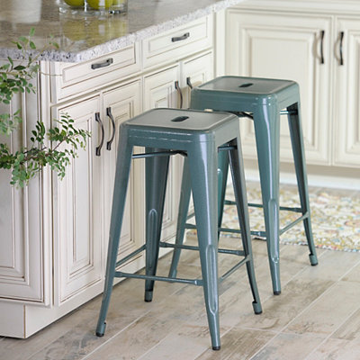 Stackable Turquoise Industrial Metal Bar Stool