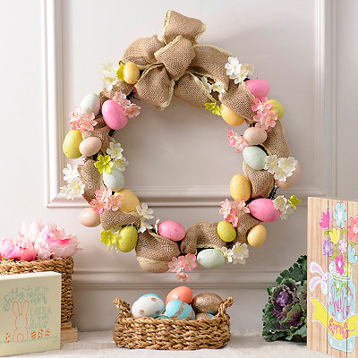 Burlap Easter Egg Wreath
