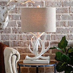 White Antler Table Lamp