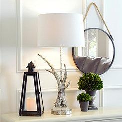 Silver Antler Table Lamp