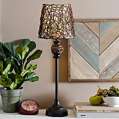 Dark Rattan Buffet Lamp