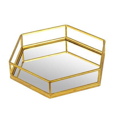 Gold Hexagon Mirrored Vanity Tray