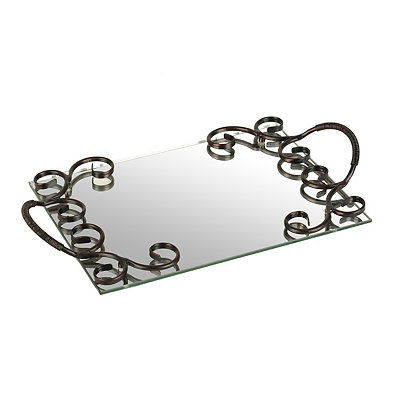 Metal Swirl Mirrored Vanity Tray