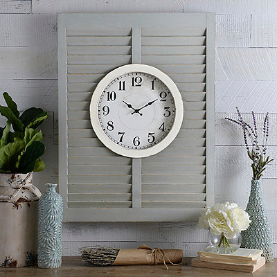 Blakely Gray Shutter Clock