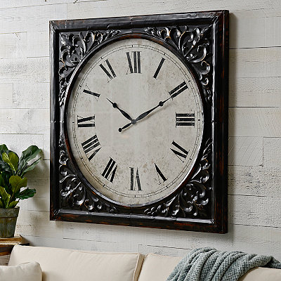Distressed Black Tatum Clock