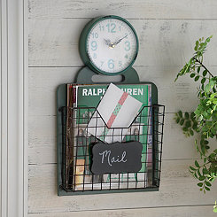 Angie Turquoise Clock with Wire Basket
