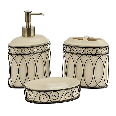 Maria Metal Scroll Bath Accessories, Set of 3