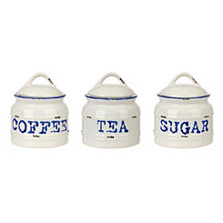 Ceramic Coffee Sugar Tea Canisters, Set of 3