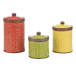 Woven Ceramic Farmhouse Canisters, Set of 3
