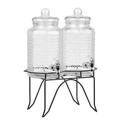 Hammered Twin Beverage Dispensers, Set of 2
