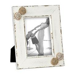 Cream Burlap Rosette Picture Frame, 5x7