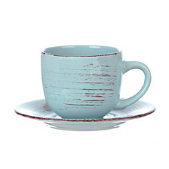 Turquoise Venetian Scroll Cup and Saucer Set