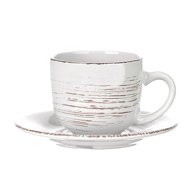Cream Venetian Scroll Cup and Saucer Set