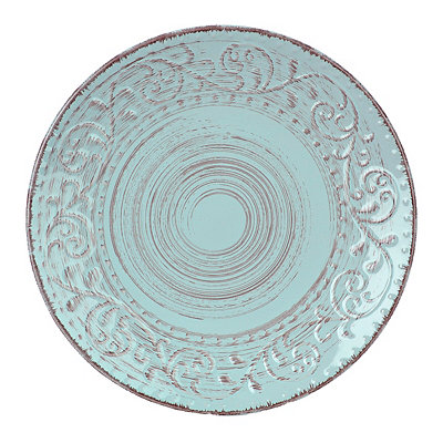Turquoise Venetian Scroll Dinner Plate