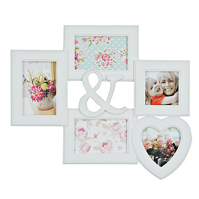 White & Heart 5-Opening Collage Frame