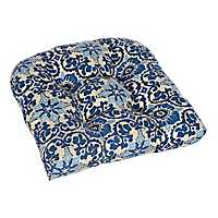 Woodblock Prism Blue Outdoor Cushion