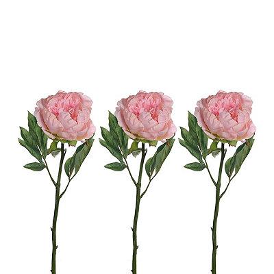 Light Pink Peony Stems, Set of 3