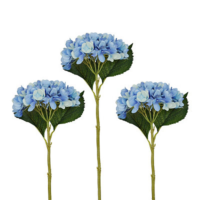 Blue Hydrangea Stems, Set of 3
