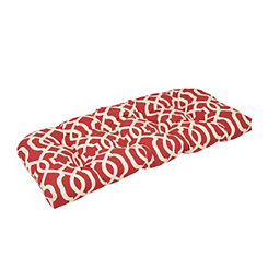 Geometric Red Outdoor Settee Cushion