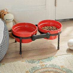 Red Pet Bowls with Metal Bone Stand