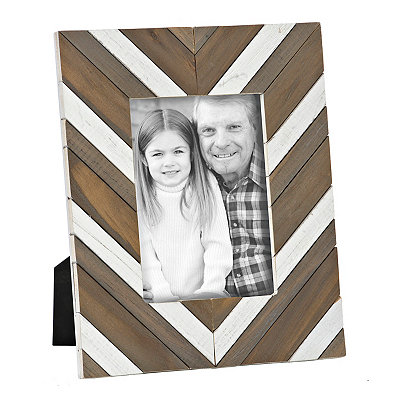 Chevron Wood Plank Picture Frame, 5x7