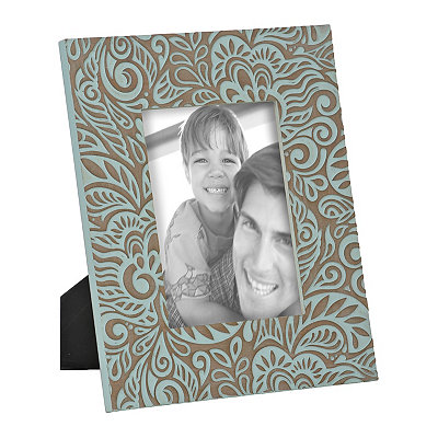 Aqua Floral Wooden Picture Frame, 5x7