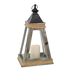 Distressed Blue Pyramid Lantern