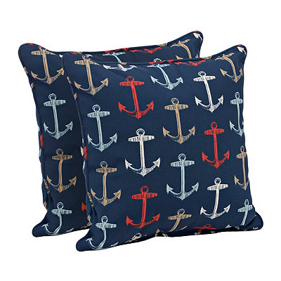 Navy Anchor Outdoor Pillows, Set of 2