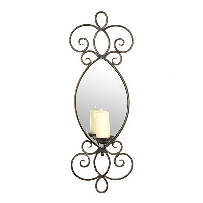 Mirrored Metal Scroll Sconce