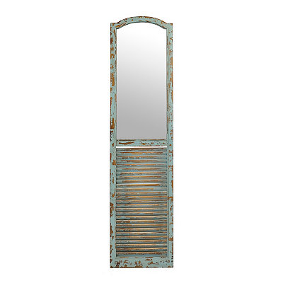 Distressed Turquoise Shutter Panel Mirror, 16x70