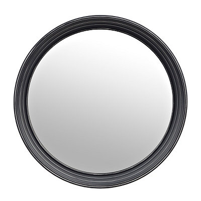 Black Port Hole Round Mirror, 24.5 in.