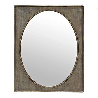 Reclaimed Natural Oval Framed Mirror, 24 x 30